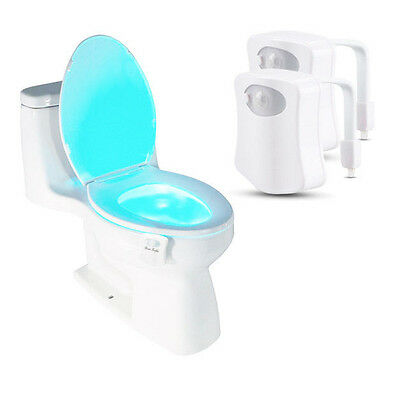 2-Pack: 8-Color LED Motion Sensing Automatic Toilet Night Light