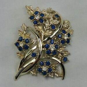 Blue-Floral-Bouquet-Gold-Tone-Blue-Rhinestone-Flower-Vintage-Brooch-Pin