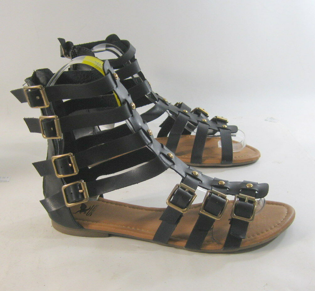 Summer Black/Gold Sexy Womens Flat Open Toe Sexy Black/Gold Gladiator Sandals Shoes Size 6 644749