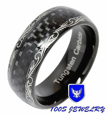 Mens Womens Tungsten Ring Jewelry Wedding Band Black Carbon Fiber Inlaid Comfort