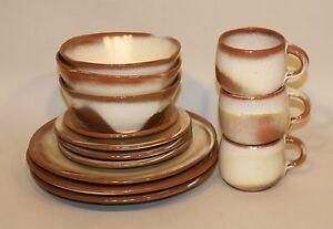 13 Pc Frankoma Desert Gold Plainsman Dinner Salad Bread Plates Cereal Bowls Mugs