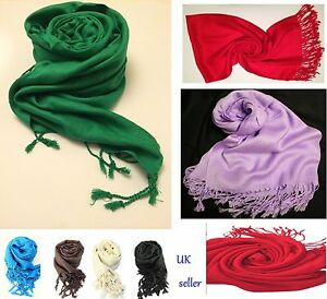 7fbbc3855 Plain Pashmina Scarf Shawl Stole Wrap High Quality Many Colours 100 ...