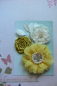 LEMON-amp-WHITE-3-Flower-Mix-Designs-SATIN-LACE-3-Leaves-50-90mm-across-Green-Tara