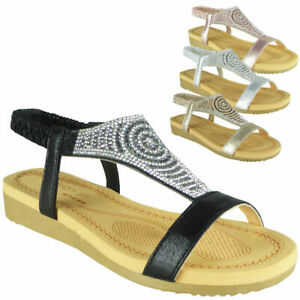 Ladies-Diamante-Low-Wedge-Comfy-Strap-Summer-Womens-Peeptoe-Sandals-Shoes-Sizes