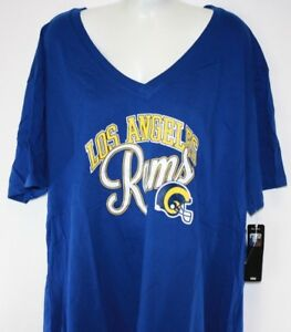 NEW Womens NFL Los Angeles LA Rams Royal Blue Glitter V Neck ... 3b12d937b