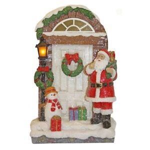 23-cm-Luccicanti-Natale-Babbo-Natale-Decorazione-Porta-con-la-luce-decorazione-tradizionale