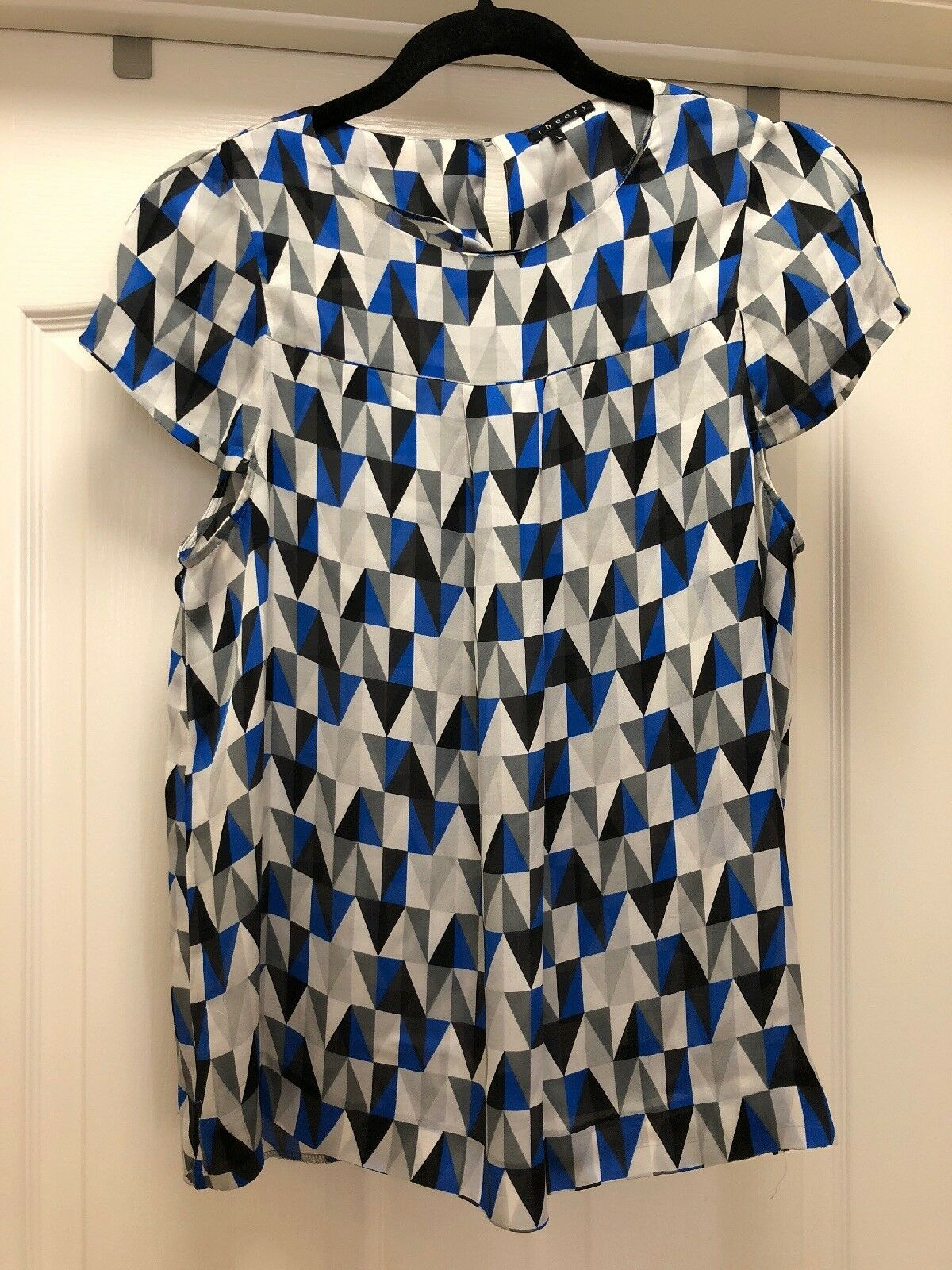 New Theory Silk Abstract Geometric Print Blau Blouse SZ Large