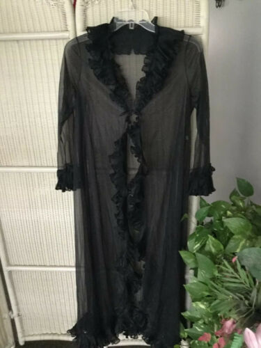 Vintage Vanity Fair Sheer BlackLace Ruffled Linger