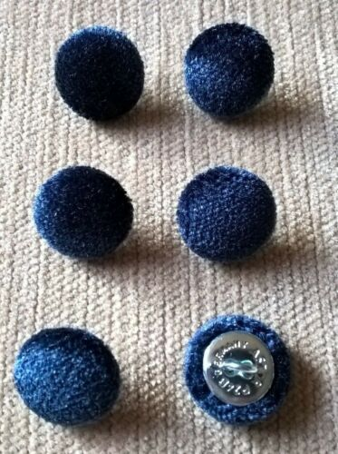 Velours 24L/15mm Bleu Marine Recouvert de tissu boutons recouverts (bleu)