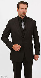 Image Is Loading Groomsmen 039 S Pinstripe Suit Jacket Vest Pants