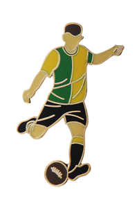 Green & Yellow Halves Football Player Gold Plated Pin Badge