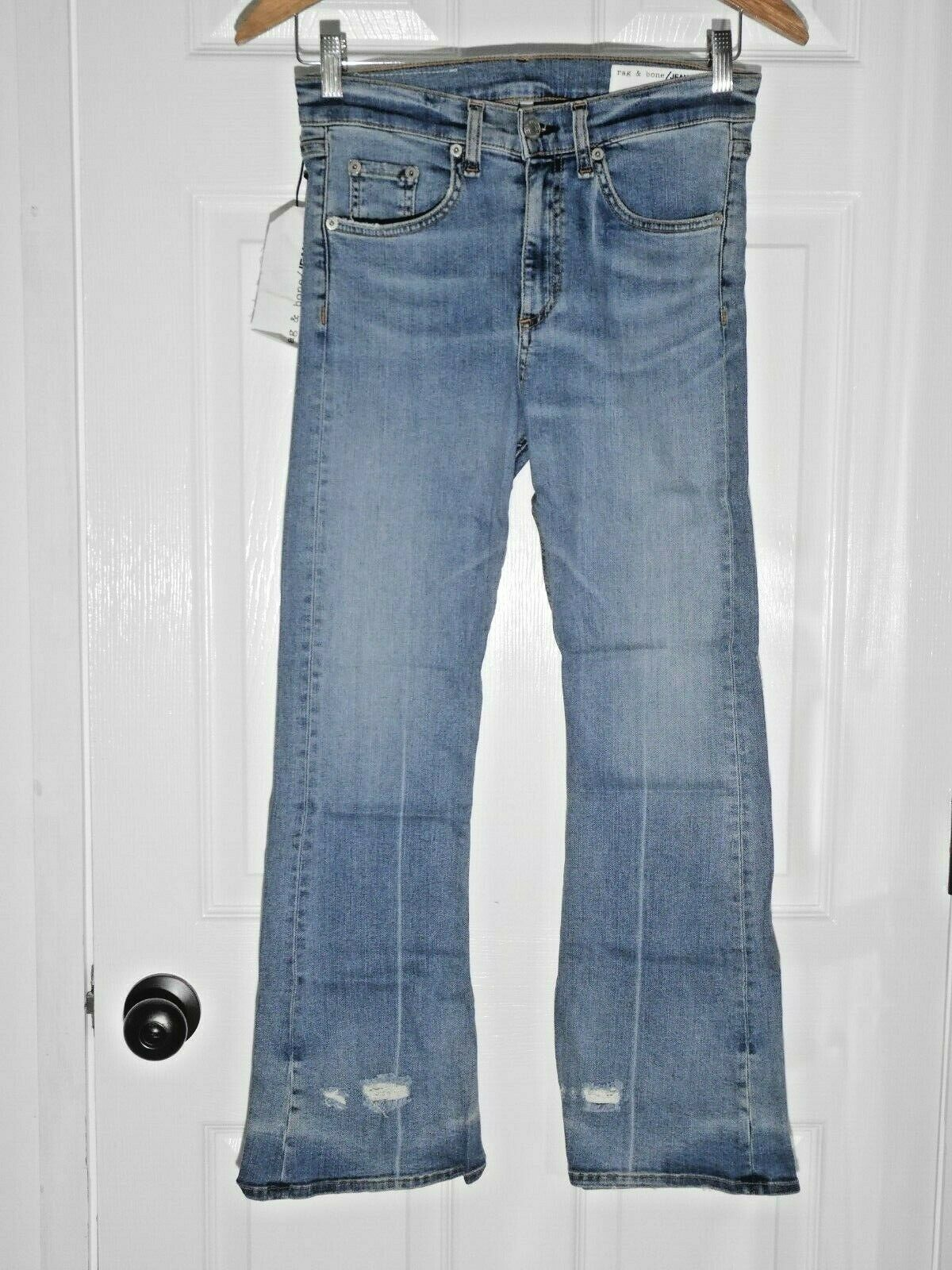 250 NEW Rag & Bone JEAN 10 Inch Cropped Flare in Vale Destroyed Size 27