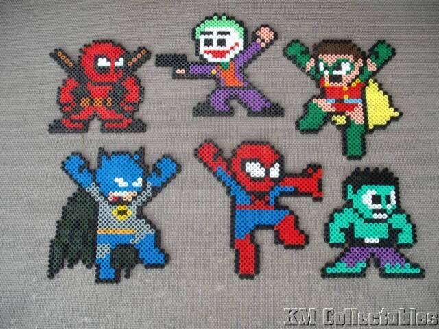 Super Heroes Hama Beads.Free P&P Batman,Spiderman,Hulk,Deadpool,Robin,Joker