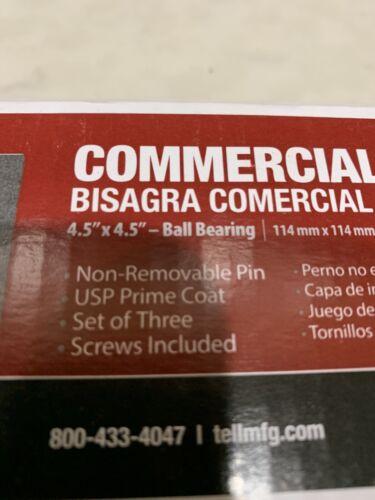 x 4.5 in Tell Mfg New Prime Coat Ball Bearing NRP Hinges 4.5 in 3 per Box