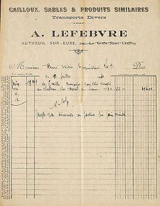 27 Autheuil Authouillet Facture Lefebvre Cailloux Sables Transports 1930 Q9uvshey-08004827-940320377