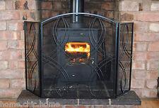 "Black Fire Guard 3 fold Reflection Fire Screen - Black Finish H26""(66cm)"