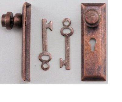 Brass Dollhouse Miniatures 1:12 Scale Door Knob with Key Plate 2//Pk #CLA05528