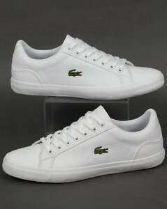 5fcee7a4860f57 Image is loading Lacoste-Lerond-BL-Trainers-in-White-canvas-low-
