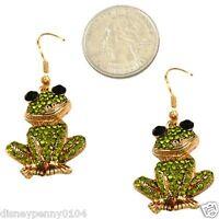 Frog Shades Of Green Rhinestones-black Eyes- Earrings-dangling-hang 2 Inches