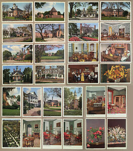 Colonial-Williamsburg-VA-Lot-28-Beautiful-Vintage-Postcards-Made-in-Switzerland