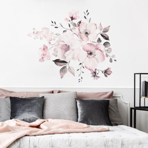 Pink Peony Flower Wall Stickers Baby Living Room Nursery Home Decor Mural Deca