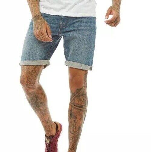 15 # Bellfield Da Uomo Pantaloncini Di Jeans Midwash Dimensioni 32 Rrp £ 24.99