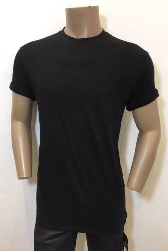 £150 NEIL BARRETT Black Loose Fit Longer Length Cotton Roll Sleeve T-Shirt RRP