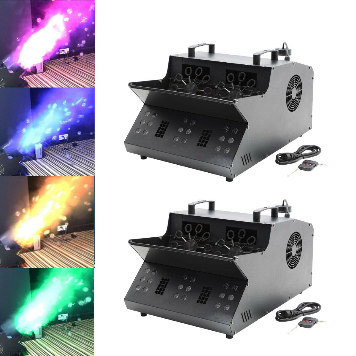 2PCS 3000W Bubble Making Machine Smoke Fog Effect RGB 18LED Stage Light Party DJ