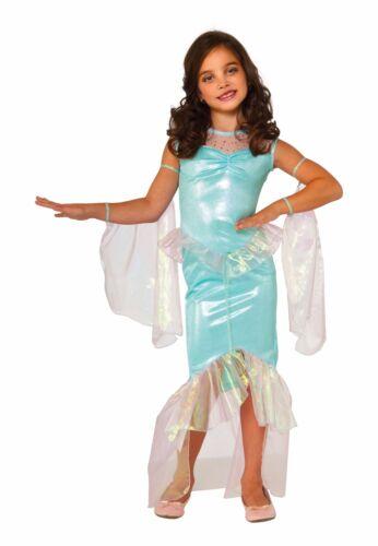 Girls Mermaid Costume Blue//Green Fancy Dress Fins Tail Child S M L Halloween NEW