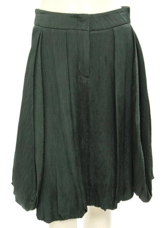 Giorgio Armani Green Silk Pleated  Bubble Skirt Size EU36 US 2 XS