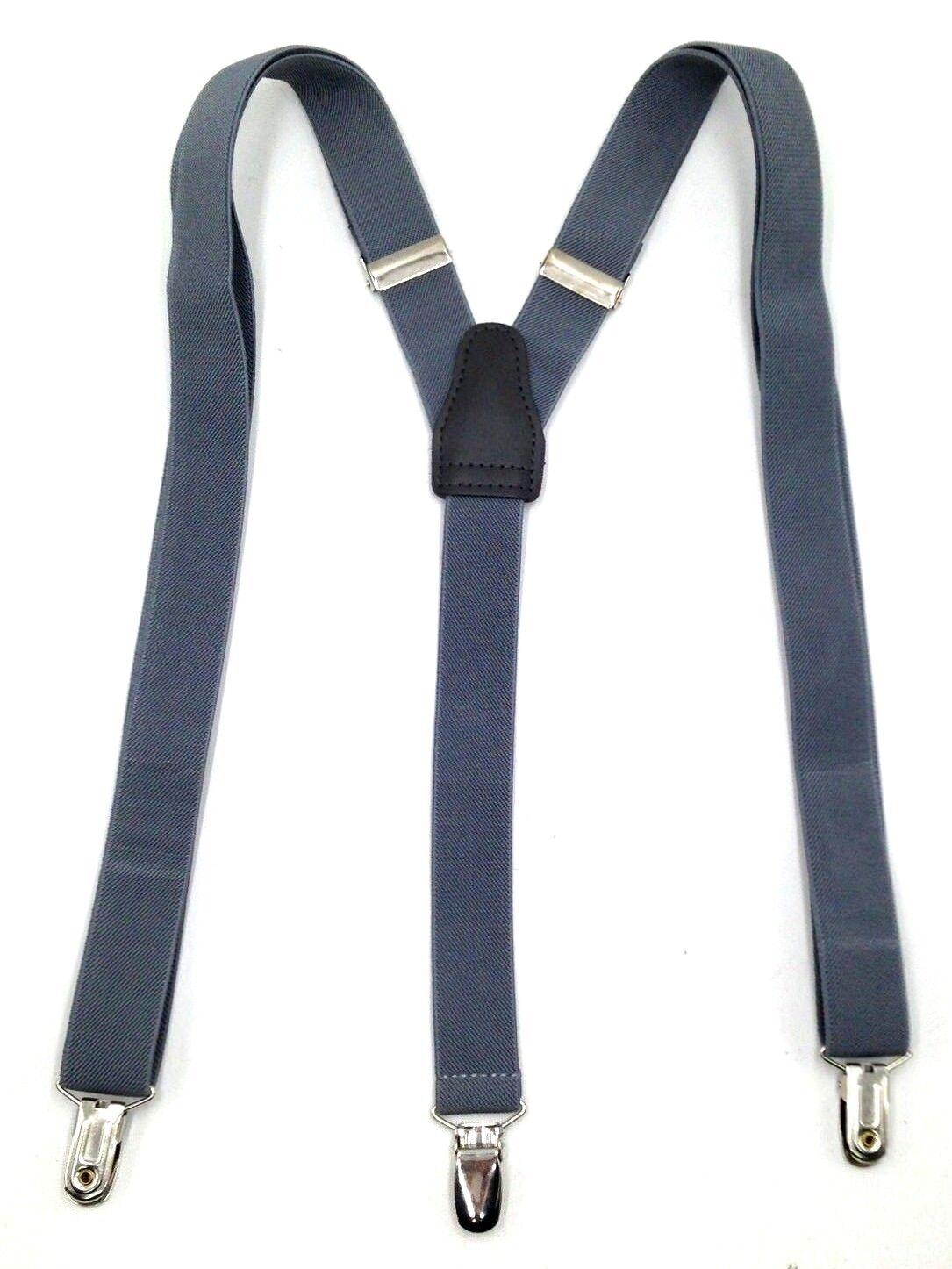Alfani Men'S Solid Gray Skinny Elastic Stretch Braces Clip-End Suspenders