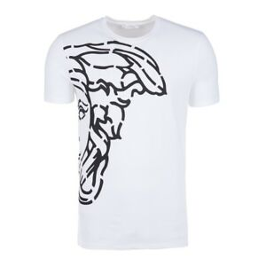 54fb6fb72 Versace Collection Men's White Medusa Erkek Graphic Print Crew-Neck ...