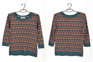 Womens-Sessun-Florea-Honeycomb-Knit-Jumper-Sweater-3-4-Sleeve-Striped-Size-M
