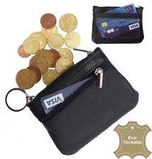 Porte monnaie bourse homme / femme noir CUIR VERITABLE