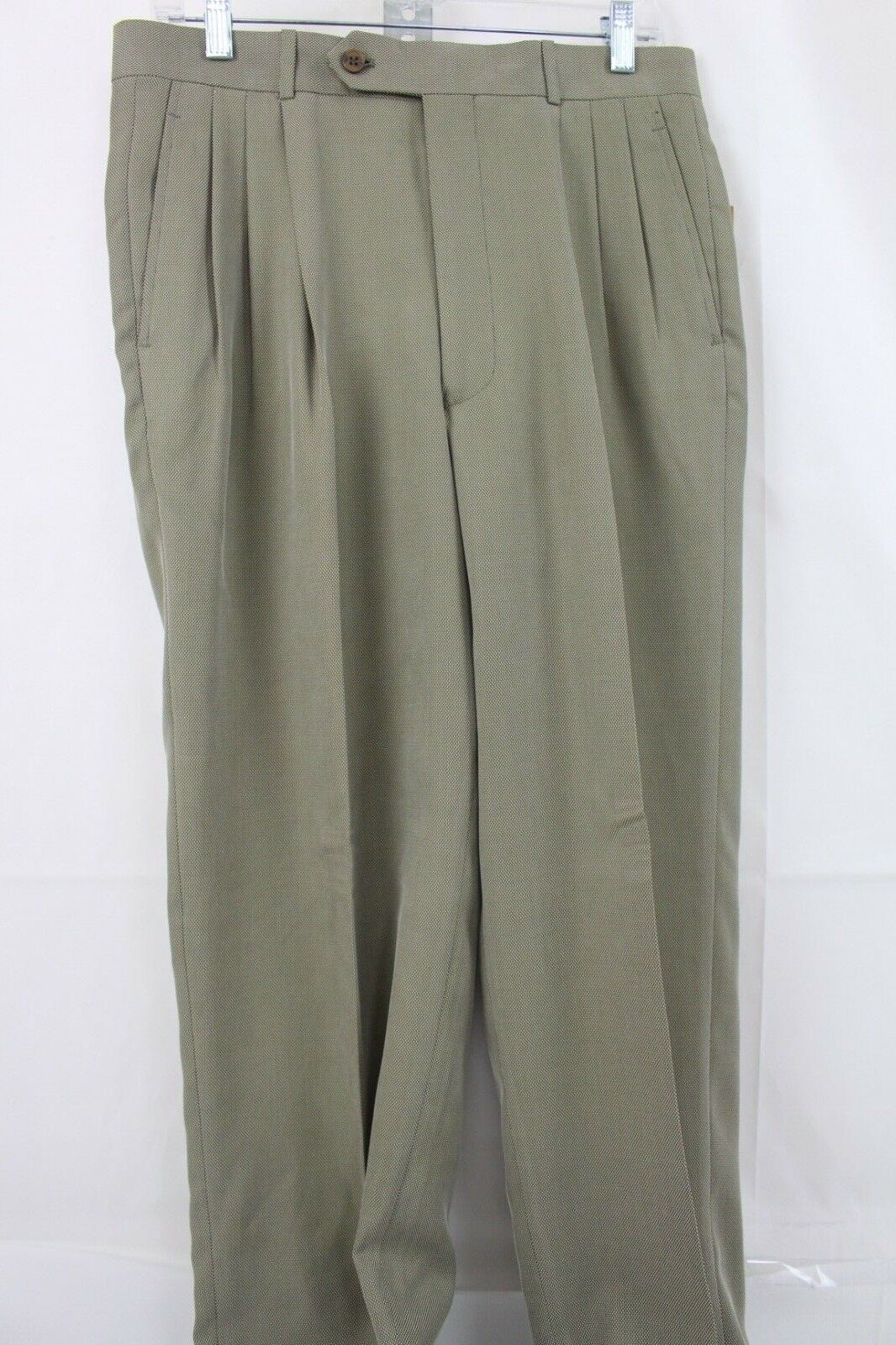 Today's Man Polynosic & Polyester Blend Green & Beige Pleated Dress Pants 32X32L