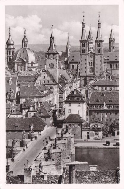 Würzburg , Blick von der Feste Marienberg , Ansichtskarte , 1954 gelaufen