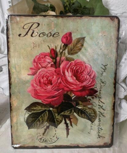 Plaque en Tôle Image Déco Métal Bouclier Roses 20x26cm Shabby Vintage