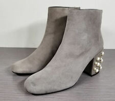 Stuart Weitzman Pearlbacari Embellished Bootie Fossil Grey Suede Womens Size 6 M