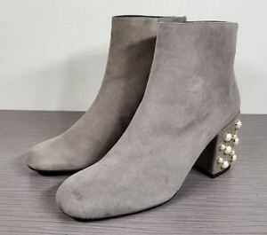 Stuart-Weitzman-Pearlbacari-Embellished-Bootie-Fossil-Grey-Suede-Womens-Size-6-M