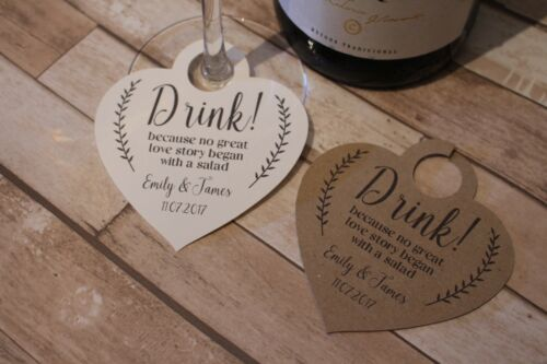 Personalised Wedding heart favour tags-Drink me-tags for wine-champagne glasses
