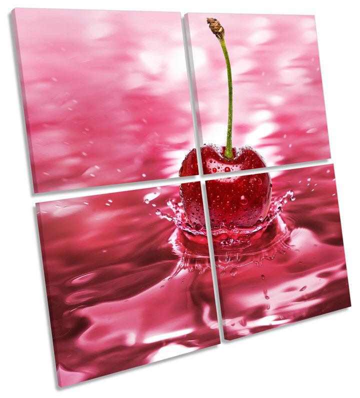 Las Cerezas Cerezas Cerezas Splash Cocina Lona Pa rojo  Arte Cuadrado de impresión de múltiples c6ccc5