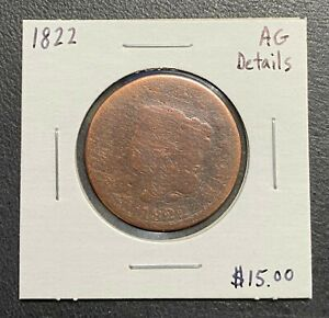 1822 U.S. CORONET HEAD LARGE CENT ~ AG DETAILS! $2.95 MAX SHIPPING! C3327