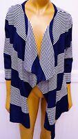 Willi Smith Blue White Striped Open Cardigan Sweater Small Rayon Nylon