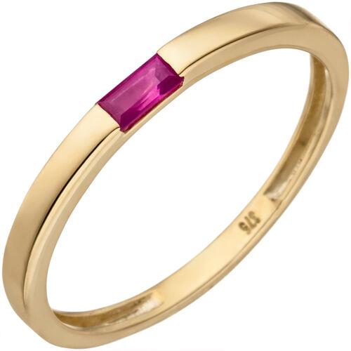 Damen Ring 375 Gold Gelbgold mit 1 Rubin Goldring Rubinring