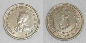 1920 Copper-Nickel Coin 5 Cents Straits Settlement Malaya George V England XF/AU