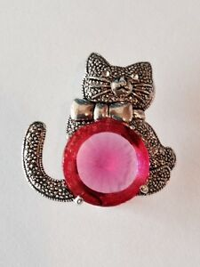 Cat-Brooch-Pink-Silver-Plated-Metal-Animal-Pin-Clear-Crystal-Valentines-Day-Gift