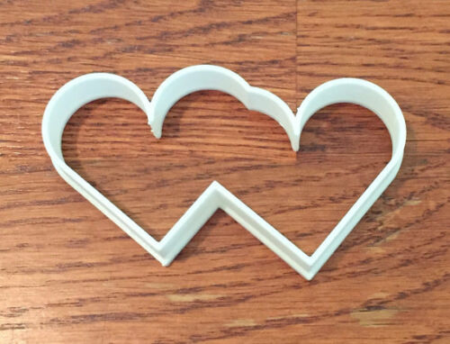 Twin Hearts cookie and fondant cutter US SELLER!!