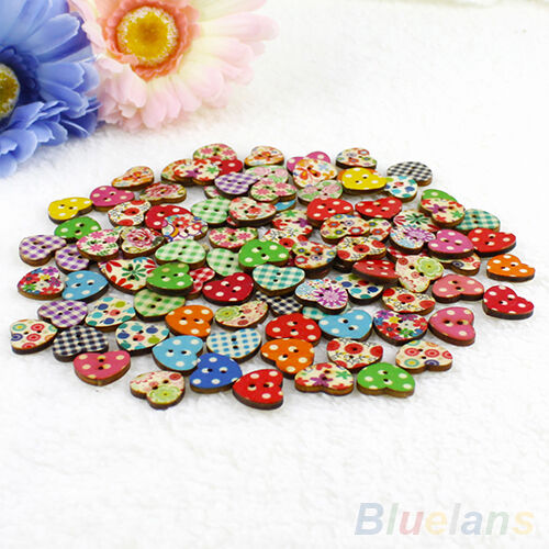 Cy/_ 100X Heart Shaped 2 Holes Wood Sewing Buttons Scrapbooking Knopf Bouton Nove
