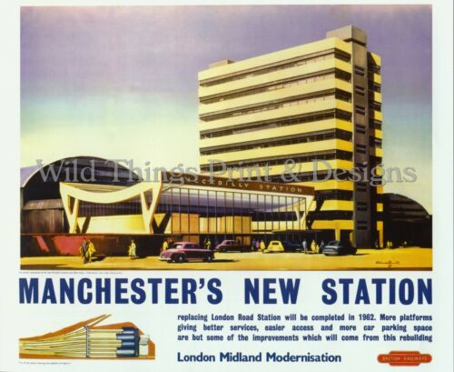 Vintage Railway  Poster BR MANCHESTER/'S NEW STATION    A2 /& A3  122