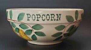 "Crock Shop Fruit Popcorn Bowl Cherries Pears Apple Hand Painted Santa Ana Ca 10"""